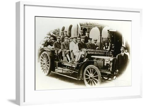 Men Only Coach Outing from the Harbour Hotel, Folkestone, C.1905--Framed Art Print