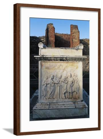 Temple of Vespasian and its Marble Altar in Front of Aedicola, Pompeii--Framed Art Print