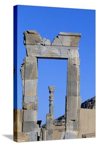 One of Doors to Throne Room or Room of Hundred Columns, Persepolis--Stretched Canvas Print