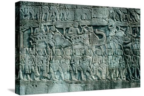 Low Relief Sculpture of War Elephants and Foot Soldiers, C.1181-1220--Stretched Canvas Print