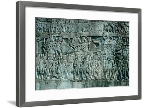 Low Relief Sculpture of War Elephants and Foot Soldiers, C.1181-1220--Framed Art Print
