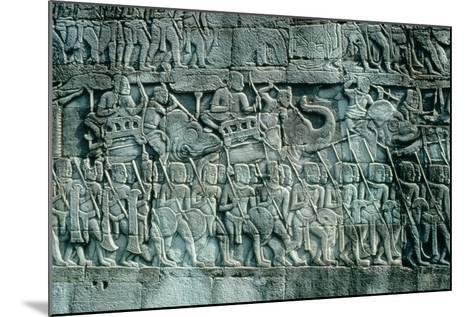 Low Relief Sculpture of War Elephants and Foot Soldiers, C.1181-1220--Mounted Photographic Print