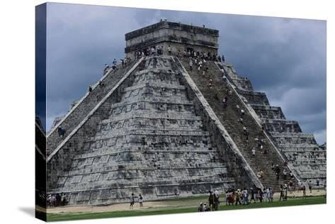 The Pyramid in Kukulkan known as the Castle in Chichen Itza--Stretched Canvas Print