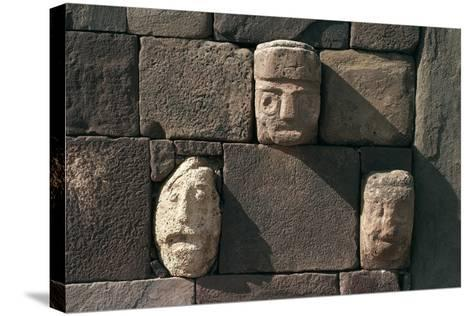 Wall with Stone Heads, Archaeological Site of Tiwanaku--Stretched Canvas Print