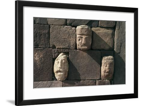Wall with Stone Heads, Archaeological Site of Tiwanaku--Framed Art Print