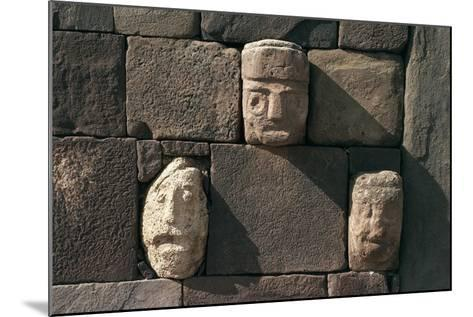 Wall with Stone Heads, Archaeological Site of Tiwanaku--Mounted Photographic Print