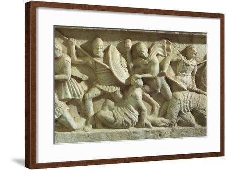 Cinerary Urn Depicting a Battle Scene, from Chiusi--Framed Art Print