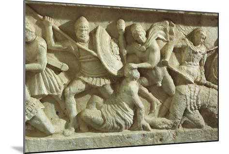 Cinerary Urn Depicting a Battle Scene, from Chiusi--Mounted Photographic Print
