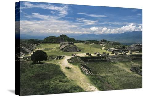 Central Square and View of Archaeological Site of Monte Alban--Stretched Canvas Print