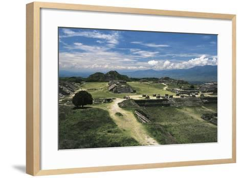 Central Square and View of Archaeological Site of Monte Alban--Framed Art Print