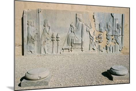 Bas-Relief of Darius the Great's Nowruz Audience, Treasury, Persepolis--Mounted Photographic Print