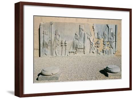 Bas-Relief of Darius the Great's Nowruz Audience, Treasury, Persepolis--Framed Art Print
