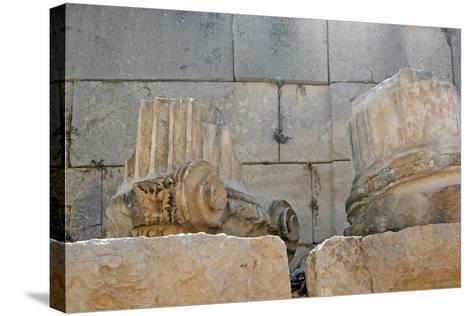 Decorated Capital and Column Base, Patara, Turkey--Stretched Canvas Print