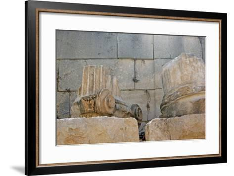 Decorated Capital and Column Base, Patara, Turkey--Framed Art Print