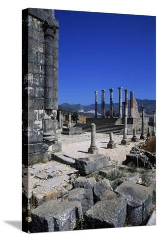 Ruins of Capitoline Temple, Roman City of Volubilis--Stretched Canvas Print