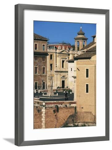 View of Piazza Di St Bartholomew on Island, Tiber Island, Rome--Framed Art Print