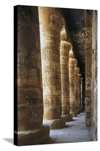 Portico of Courtyard, Temple of Ramesses III, Medinet Habu, Thebes--Stretched Canvas Print