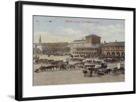 Postcard Depicting Cattle and Other Livestock in the Market Square--Framed Art Print