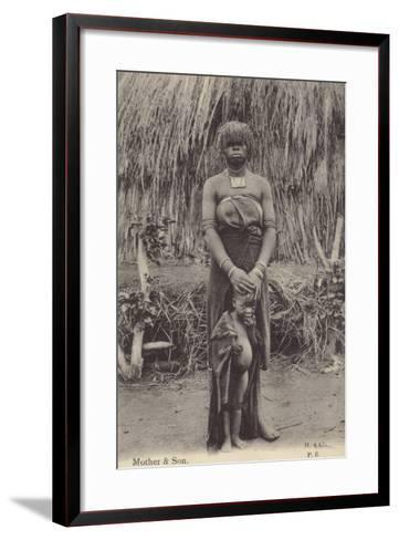 Postcard Depicting a Mother and Son in Tribal Dress--Framed Art Print