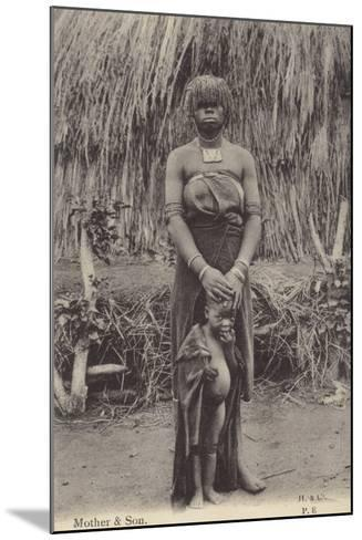 Postcard Depicting a Mother and Son in Tribal Dress--Mounted Photographic Print