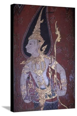Mural Painting in Wat Suwan Dararam Temple in Ayutthaya--Stretched Canvas Print