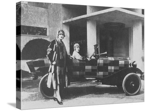 Sonia Delaunay and Her Matching Decorated Citroen B12, 1925--Stretched Canvas Print