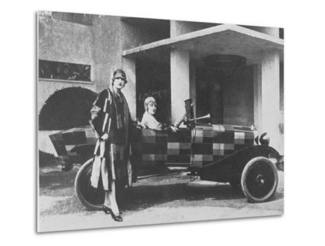 Sonia Delaunay and Her Matching Decorated Citroen B12, 1925--Metal Print