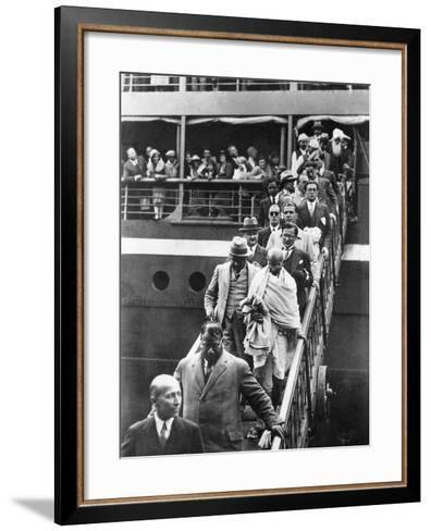 Mahatma Gandhi Alighting at Marseilles, 11th September 1931--Framed Art Print