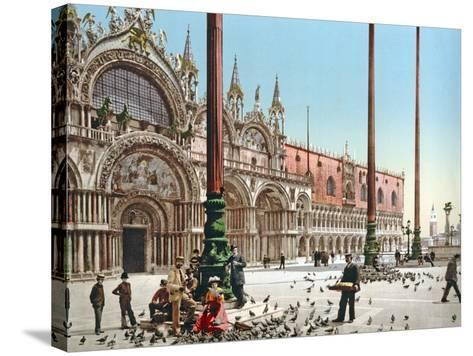 Feeding the Pigeons in St Mark's Square, Venice, C.1900--Stretched Canvas Print