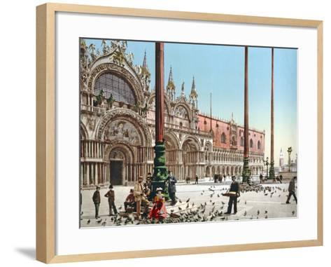 Feeding the Pigeons in St Mark's Square, Venice, C.1900--Framed Art Print