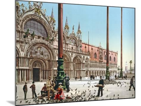 Feeding the Pigeons in St Mark's Square, Venice, C.1900--Mounted Photographic Print