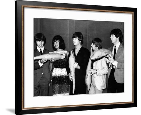 The Beatles Hold Souvenir Bottlenose Dolphins, February 1964--Framed Art Print