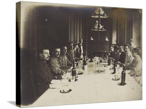 French Convalescents Having Lunch in Hospital, January 1916--Stretched Canvas Print