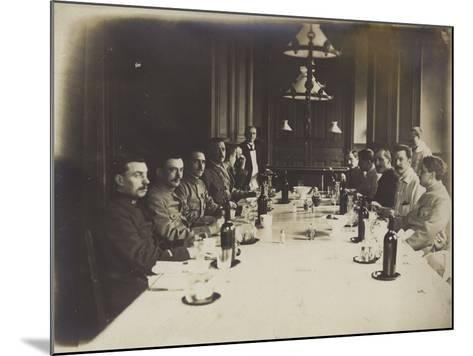 French Convalescents Having Lunch in Hospital, January 1916--Mounted Photographic Print