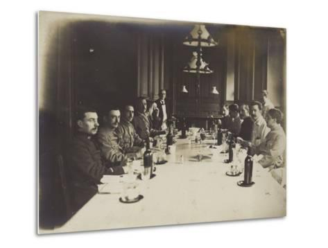 French Convalescents Having Lunch in Hospital, January 1916--Metal Print