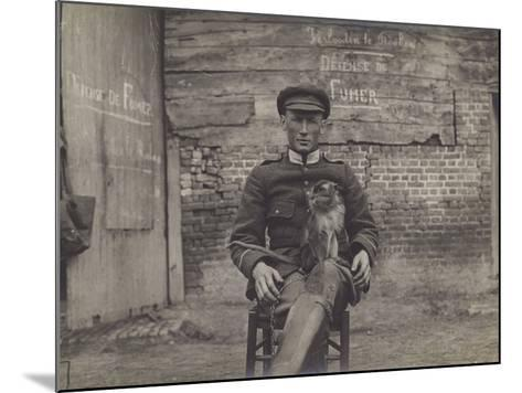 Bouddha, the Pet Cat of a Squadron of Lancers on the Belgian Front--Mounted Photographic Print