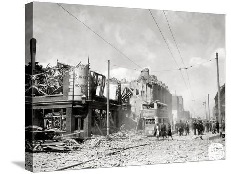 A Street in Ruins after German Bombing, London, United Kingdom, 1944--Stretched Canvas Print
