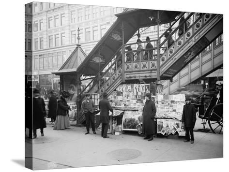 A Characteristic Sidewalk Newsstand, New York City, C.1903--Stretched Canvas Print
