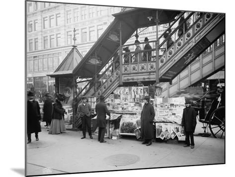 A Characteristic Sidewalk Newsstand, New York City, C.1903--Mounted Photographic Print