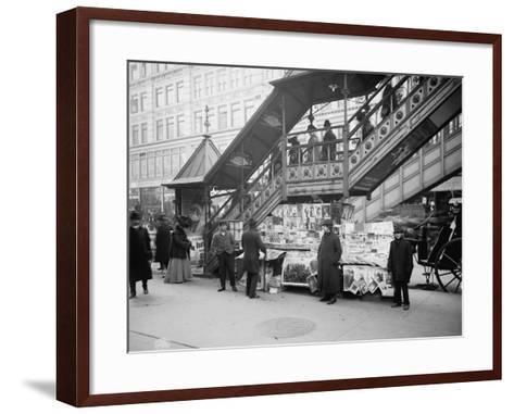 A Characteristic Sidewalk Newsstand, New York City, C.1903--Framed Art Print
