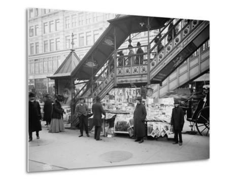 A Characteristic Sidewalk Newsstand, New York City, C.1903--Metal Print