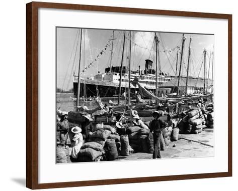Sailboats and Cruise Ship Yarmouth Docked at Nassau, Bahamas, C.1970--Framed Art Print