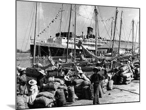 Sailboats and Cruise Ship Yarmouth Docked at Nassau, Bahamas, C.1970--Mounted Photographic Print