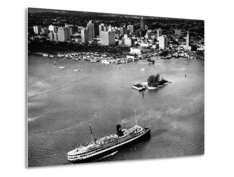 The SS Florida Goes to Sea, with Downtown Miami in the Background, 1953--Metal Print