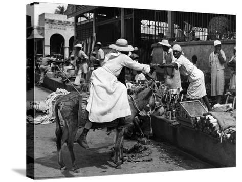 Vendors and Customers Outside the Iron Market in Port-Au-Prince, C.1959--Stretched Canvas Print
