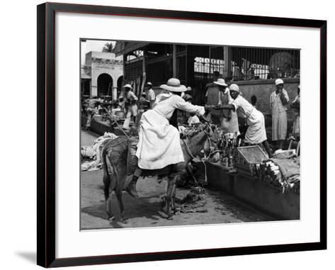 Vendors and Customers Outside the Iron Market in Port-Au-Prince, C.1959--Framed Art Print