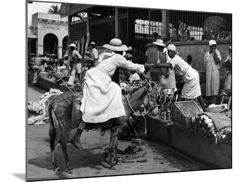 Vendors and Customers Outside the Iron Market in Port-Au-Prince, C.1959--Mounted Photographic Print