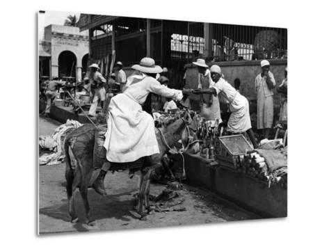 Vendors and Customers Outside the Iron Market in Port-Au-Prince, C.1959--Metal Print