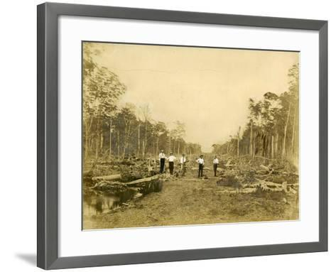 Five Men Stand in the Clearing That Would Become Lincoln Road, March 1905--Framed Art Print