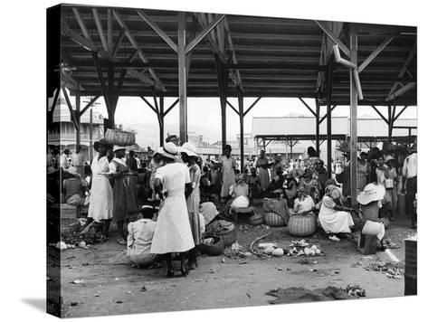 Market Vendors Selling Ground Provisions at the Coronation Market, C.1957--Stretched Canvas Print